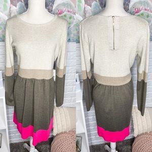 Eliza J NEW Tan Color Block Long Sleeve Dress